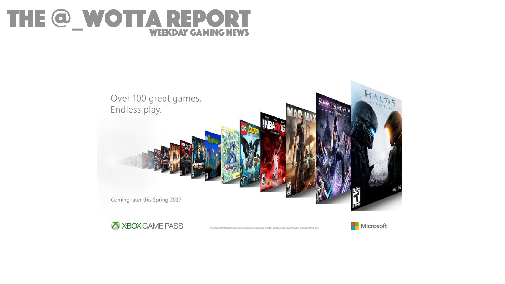 The @_wotta Report – Xbox Game Pass Announced | Weekday Gaming News